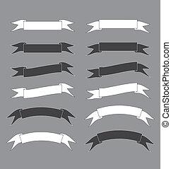 negro y blanco, bandera de la cinta, vector, ilustración