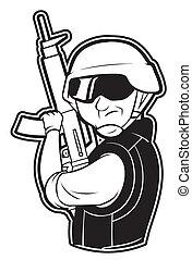 negro y blanco, clipart, soldado