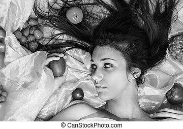 negro y blanco, con, fruta, art.