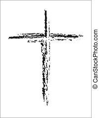 negro y blanco, cruz, grunge