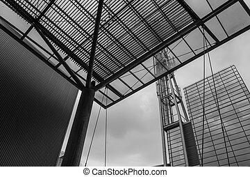 negro y blanco, de, edificio moderno