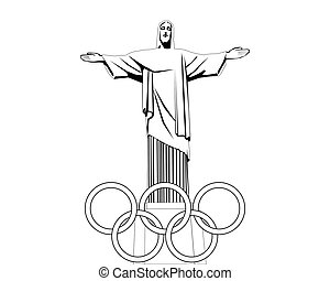 negro y blanco, dibujo, de, el, estatua, de, jesús