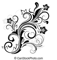 negro y blanco, diseño floral, elemento, aislado, en, white.