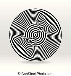 negro y blanco, eco, círculo, onda acústica