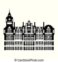 negro y blanco, edificio, de, edimburgo, balmoral, hotel,...