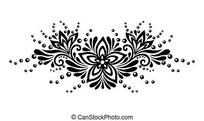negro y blanco, encaje, flores, y, hojas, aislado, en, white., diseño floral, elemento, en, retro, style.