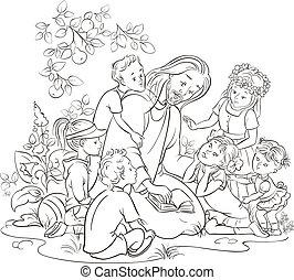 negro y blanco, jesús, con, niños