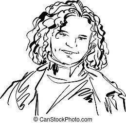 negro y blanco, mano, dibujado, ilustración, de, un, mujer, niña sonriente, con, rizado, hair.