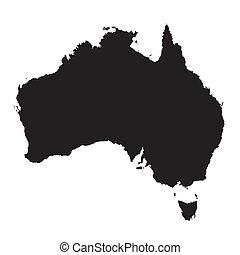 negro y blanco, mapa, de, australia