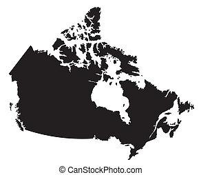 negro y blanco, mapa, de, canadá