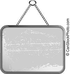 negro y blanco, marco, en una cadena