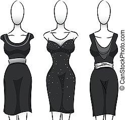 negro y blanco, niñas, moda, maniquí, vestido