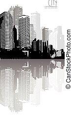 negro y blanco, panorama, de, cityscape, con, lugar, para, su, text.