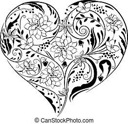 negro y blanco, plantas, y, flores, en, forma corazón
