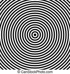 negro y blanco, resumen, moderno, círculos concéntricos