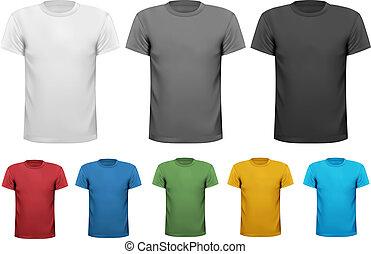 negro y blanco, y, color, camisas