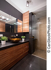 negro y, marrón, cuarto de baño, diseño