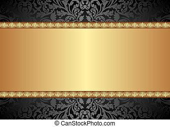 negro y, oro, plano de fondo