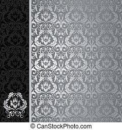 negro y, plata, plano de fondo