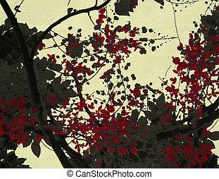 negro y rojo, flor, impresión, en, crema, plano de fondo