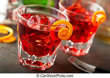 Negroni Cocktails - Delicious negroni cocktails with campari...