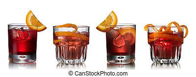 Negroni cocktails - Set of Negroni alcoholic cocktail...