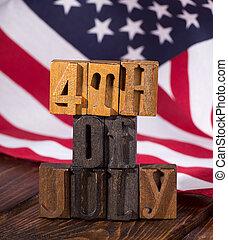 negyedik, american lobogó, háttér, július, transzparens