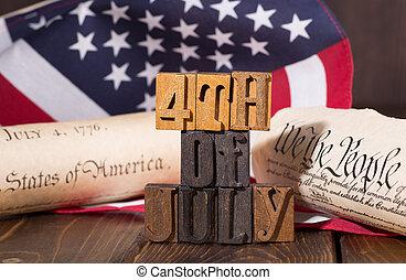 negyedik, american lobogó, történelmi, július, dokumentum, transzparens