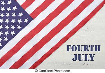 negyedik, boldog, július, erdő, usa, asztal, lobogó, fehér