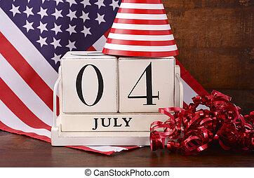 negyedik, július, erdő, naptár, lobogó, háttér., szüret