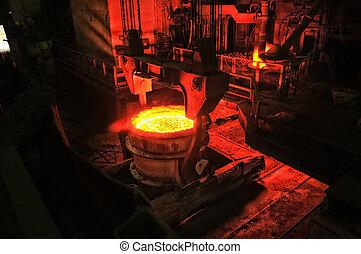 nehéz, acél berendezés, metallurgical, létrehoz, iparág, kályha