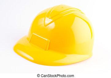 nehéz, elszigetelt, sárga háttér, white kalap