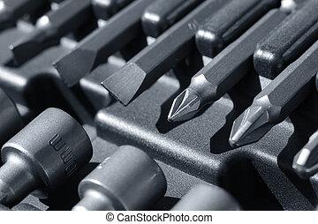 nehéz, fém szerszám, darabok, doboz, makro, closeup