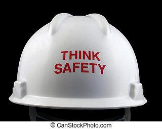 nehéz, gondol, kalap, biztonság