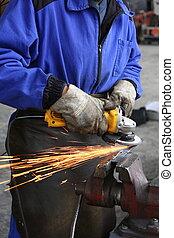 nehéz, iparág, manual munkás