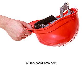 nehéz kalap, alatt, kézbesít, közül, ember, szerkesztés, worker., biztonság, alatt, work.