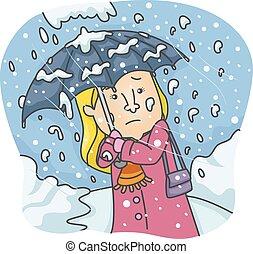 nehéz, leány, hó esik