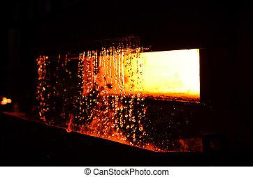 nehéz, megható, berendezés, metallurgical, hőmérséklet, industry., steelmaking, furnace., víz, magas, workshop., hamisítás, curtain., oven.
