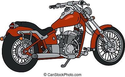 nehéz, motorkerékpár, piros