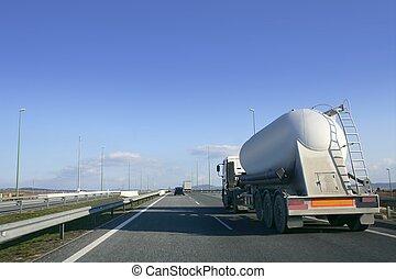 nehéz, szállítás, folyékony, csereüzlet, teherautó, út