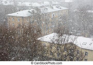 nehéz, város, hóesés