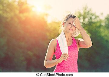 nehmen, nach, brechen, jogging, attraktive, weibliche