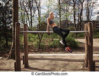 nehmen, nach, park, rest, weibliche , fitness, workout