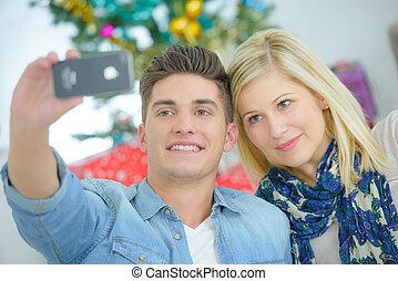 nehmen, paar, selfie
