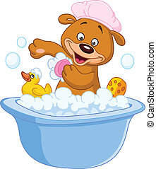 nehmen, teddybär, bad