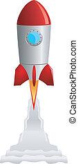 nehmen, vektor, aus, bild, rakete