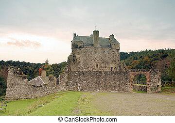 Neidpath in autumn - Historic Neidpath Castle, Peebles,...