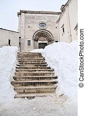 neige, église