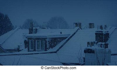 neige a couvert dessus toit, soir