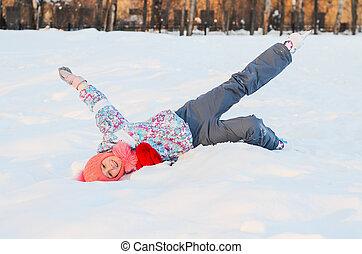 neige, appareil photo, elle, patineur, girl, poses